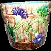 A Beautiful  ORCHIES France Majolica  Jardiniere Planter Cache Pot