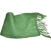 Such A Pretty 70%  Mohair 30 % Wool Green Fashion Accessory Scarf with Fringes