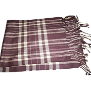 Made in Scotland 100 % Cashmere Fringed Plaid  Fashion Accessory Scarf