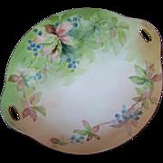 Royal Austria O&EG Hand Painted  Handled Porcelain Berry Vine Leaf Pattern Cake Plate