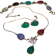 Beautiful Vintage AMCO  1/20-12 KT Gold Filled Carved Gemstone  Scarab Set Earring Bracelet Necklace