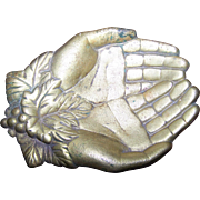 Queen Victoria Open Hands Solid Bronze Calling Card Tray Dish