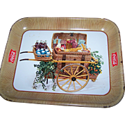 Vintage Advertising Tin Litho Tray Coke Serve Coca - Cola Picnic Basket Cart 1950's Era