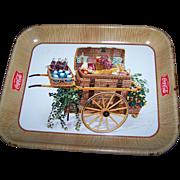Vintage Advertising Tin Litho Tray Coke Serve Coca - Cola Picnic Basket Cart 1950's Era
