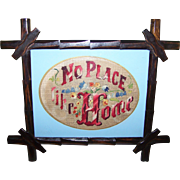 Needle Point Embroidery Motto Sampler No Place Like Home Wooden Eastlake Fol Art Style  Frame