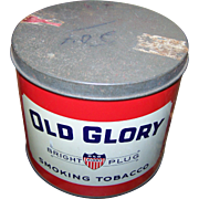 OLD GLORY Bright Plug Smoking Tobacco  Manufactured by Imperial Tobacco Company of Canada  Empty Tin Can