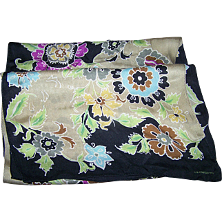 Long Rectangular Designer Signed Liz Claiborne Silk Fashion Accessory Scarf Floral Pattern
