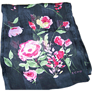 Designer Signed ECHO Floral Themed Long Rectangular Silk Scarf