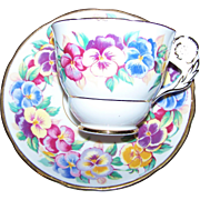 A Charming Floral Flower Handle Tea Cup Sauce Set VIOLA Royal Stafford English Bone China