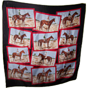 Vintage Equestrian Jockey Horse Themed Fashion Scarf 26 Inches Square