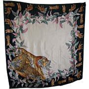 Stunning Vintage Silk Scarf with Wild Cat Plant Jungle Theme Wearable ART