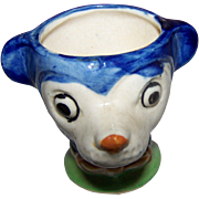 A Great Vintage Hand Painted Finest China MIJ Egg Cup Bear / Mouse Face Resembles Mickey Mouse