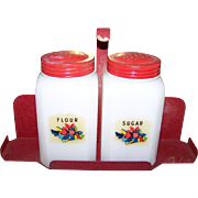 Vintage  Condiment Set Milk Glass Flour Sugar Shakers on Red Metal Stand Home Decor Collectible