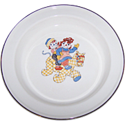 Sweet Vintage Raggedy Ann And Andy Ware Porridge Cereal Bowl by Crooksville Copyright 1941 Johnny Gruelle Co.
