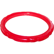 Wonderful Bright Red Scalloped Slicer Carved Spacer Bangle Tested BAKELITE