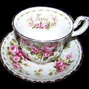 Pretty Rose Flower of the Mother Series JUNE Tea Cup Saucer Set Royal Albert  Bone China England