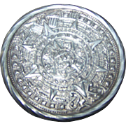 Mid-Century 925 Sterling Silver Mayan Aztec  Calendar Style Pin Brooch Pendant Tane TANE ORFEVRES Hallmark Mexico RAG