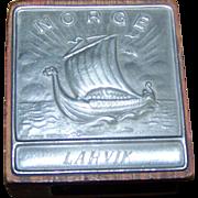 Collectible Vintage Wood and Pewter Metal NORGE  Larvik  Viking Ship Match Box  Holder