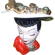 Large Glamour Girl Carmen Miranda Inspired Head Vase Planter Golden Fruit on Hat AS IS