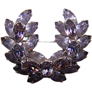 A Rare Vintage Designer Signed Sherman Faux Alexandrite Color Changing Rhinestone Brooch Pin