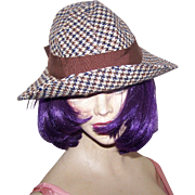 Vintage Fashion Accessory  Houndstooth Pattern Walking Hat by OHARA Cambridge MASS USA