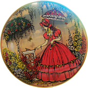 Simply Wonderful  A Vintage Convex Bubble Glass 3 Dimensional Lady In Garden Wall ART Plaque