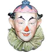 An Early  German Austrian Figural Majolica Style  Clown Tobacco Jar  Humidor