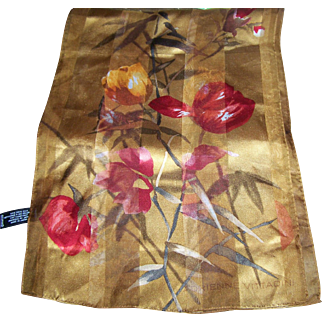 Long Rectangular solid and Sheer Floral themed Delicate Designer Signed Adrienne Vittadini Silk Scarf