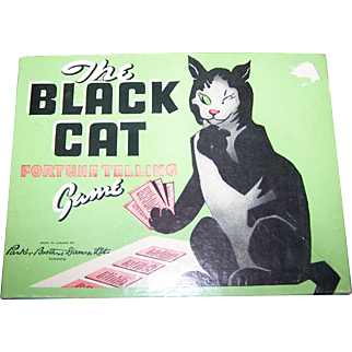 Vintage The Black Cat Fortune Telling Halloween Game by Parker Brothers 1940-50's era