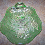 Indiana Charlie Green Depression Glass Nappy Dish Cherries