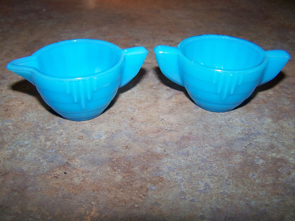 Akro Agate Blue Glass Miniature Children's Creamer & Sugar Deco Style