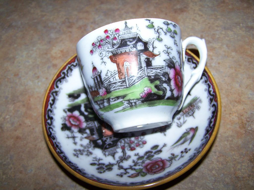 Vintage  Polychrome Transferware Oriental Themed Cup & Saucer Bowl