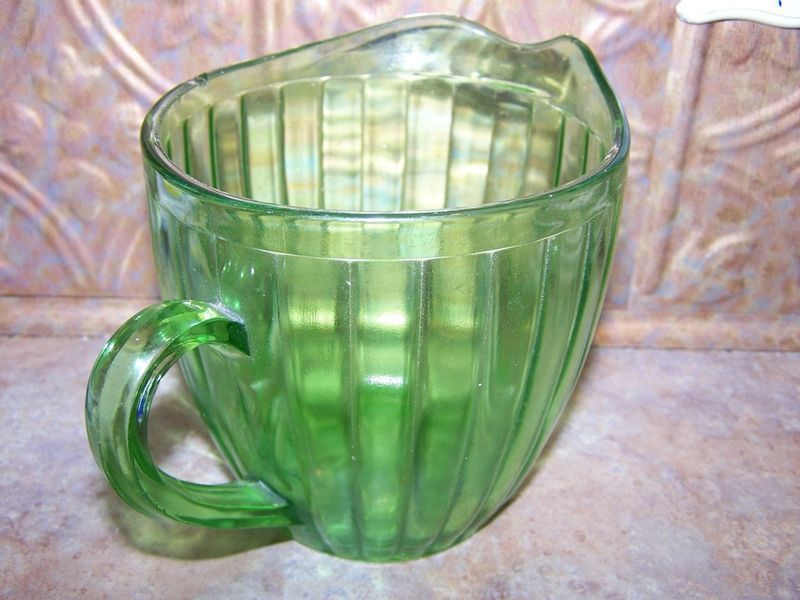 "Depression Uranium Glass Water / Juice Pitcher 5.5"" tall"