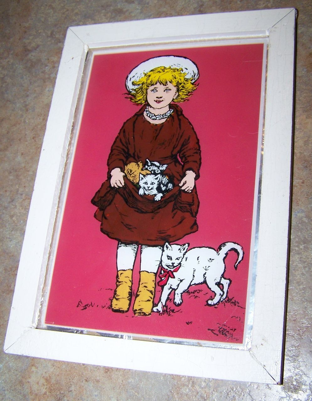 Vintage Reverse Painted  Framed Foil Art  Little Girl & Her Kitty Cats