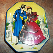Vintage Colonial Couple Advertising Toffee Tin George W. Horner
