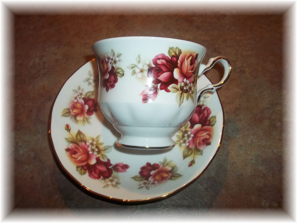 Vintage Queen Anne Floral Tea Cup & Saucer Bone China