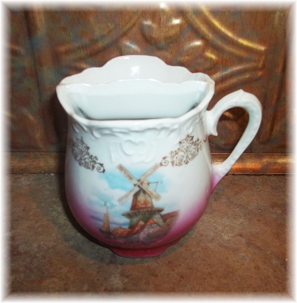 Vintage  Shaving Mug Cup Windmill Village Scene Simply Lovely
