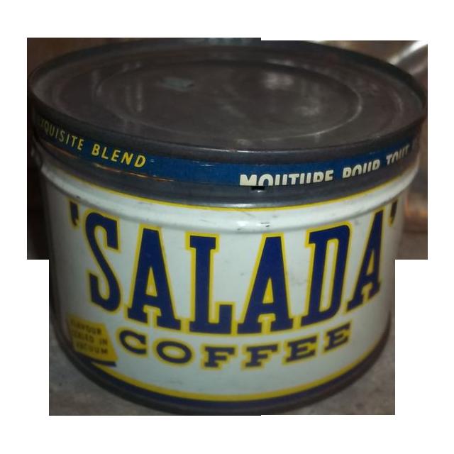Rare SALADA COFFEE Advertising Tin Can