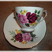 Vintage Rose  Floral Motif Tea Cup & Saucer  Queen Anne England