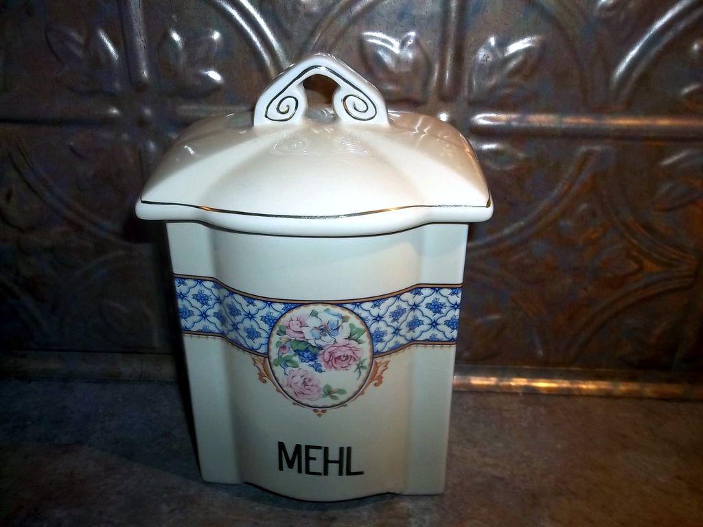 Vintage German Porcelain Canister MEHL