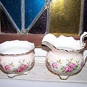 Vintage  Bone China Aynsley England Creamer & Sugar Rose Motif