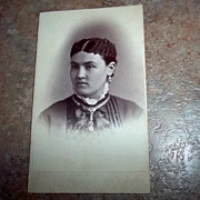ODD Portrait  Carte De Visite Lovely Lady Unusual Hair  Jewelry