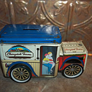 Charming Collectible Vintage Cherrydale Farms Lin Litho Advertising  Bank  Truck