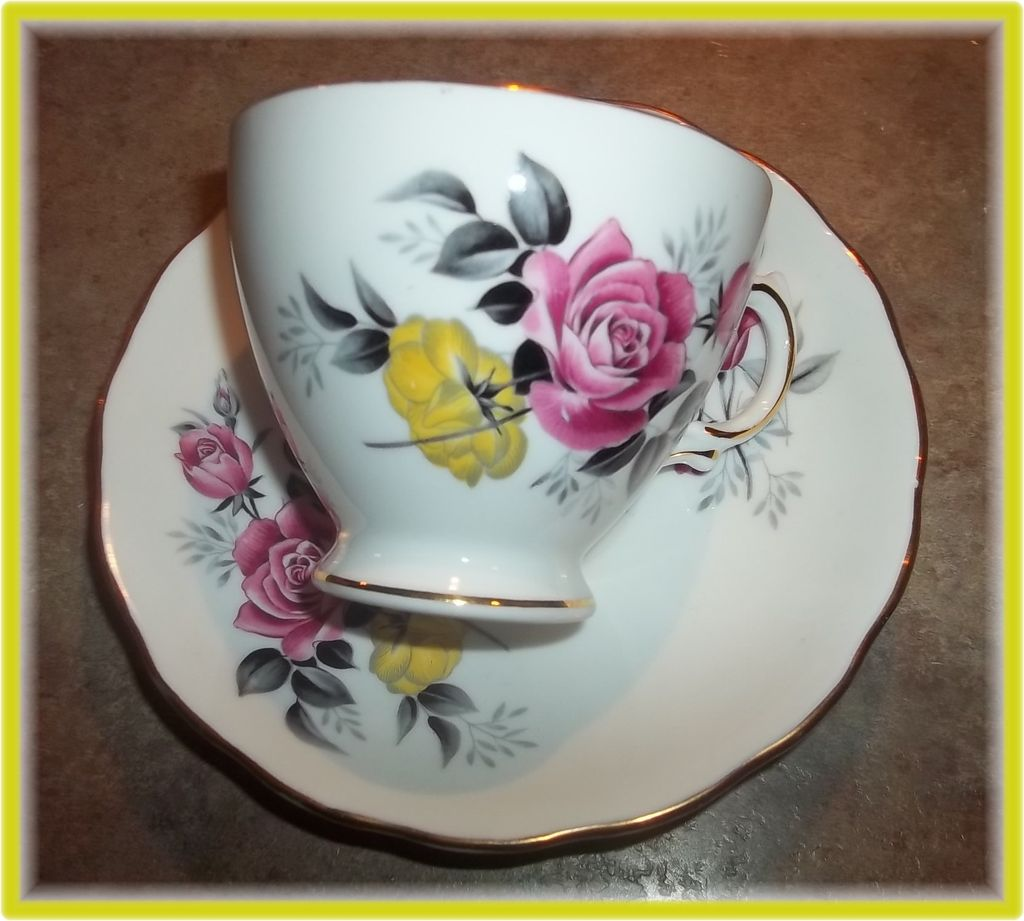 Pink & Yellow Rose Floral Motif Tea Cup & Saucer Royal Vale