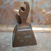Souvenir Copper Plate Advertising Bell Opener Biltmore Hotel Los Angeles