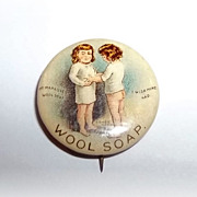 Advertising  Celluloid Pinback Pin Wool Soap Whitehead & Hoag Co