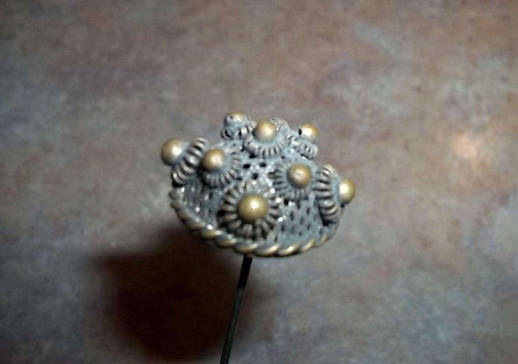 What A Pretty Vintage Long Brass and Metalware Victorian Era Hat Pin Fashion Accessory