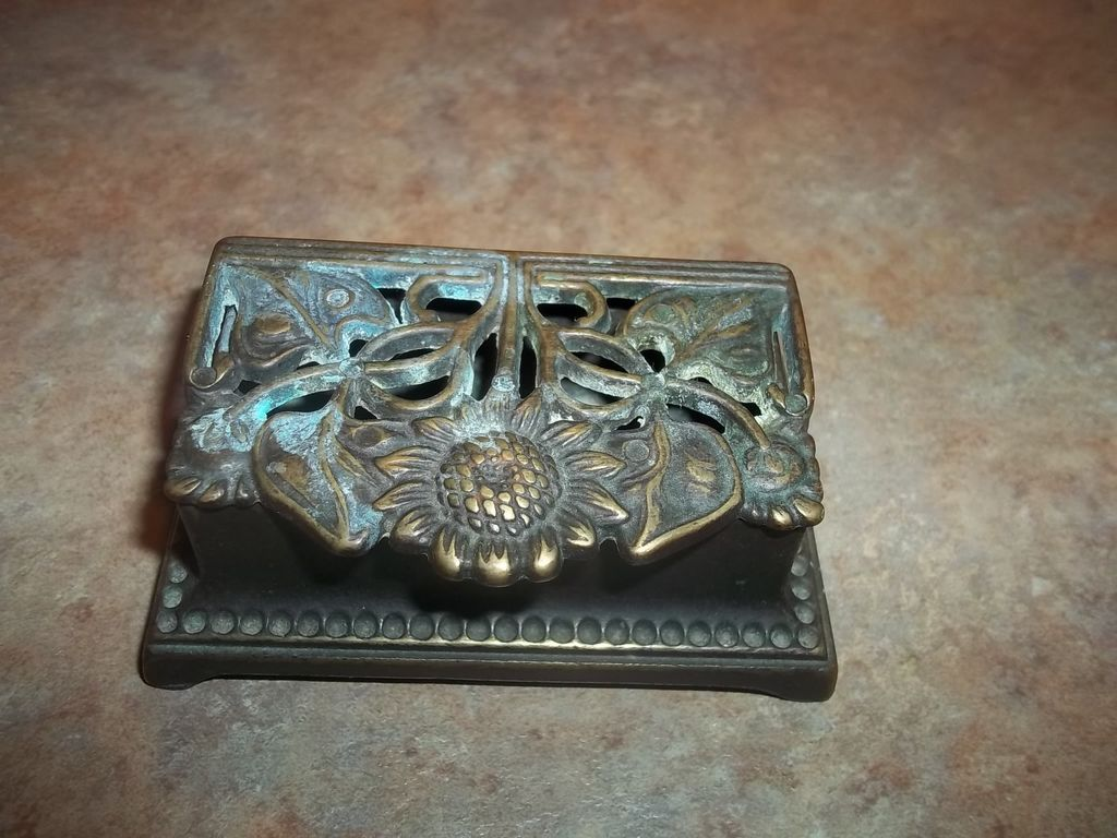Vintage  Nouveau Style Sunflower & Leaf Brass Stamp Holder Box