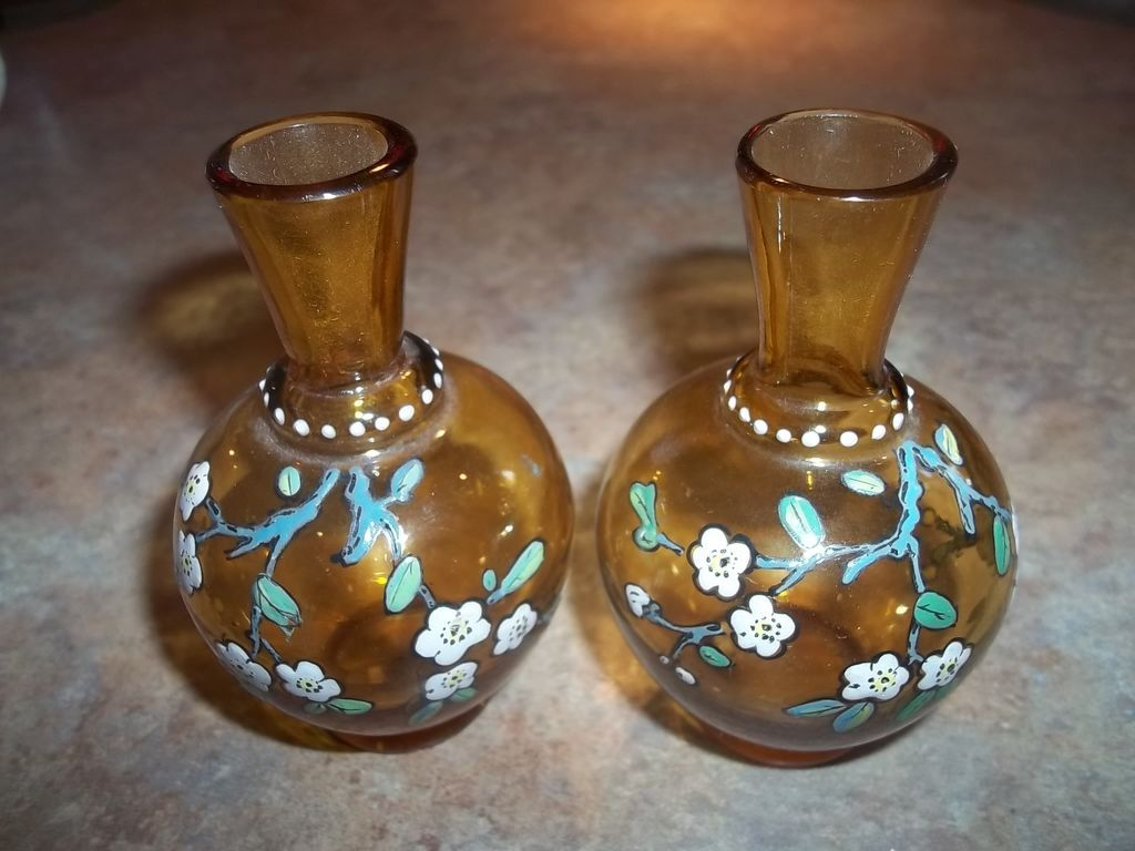 Two Miniature Honey Amber Glass Enamel Vases Floral Motif