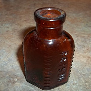 Vintage Collectible Triangular Amber Glass POISON Bottle